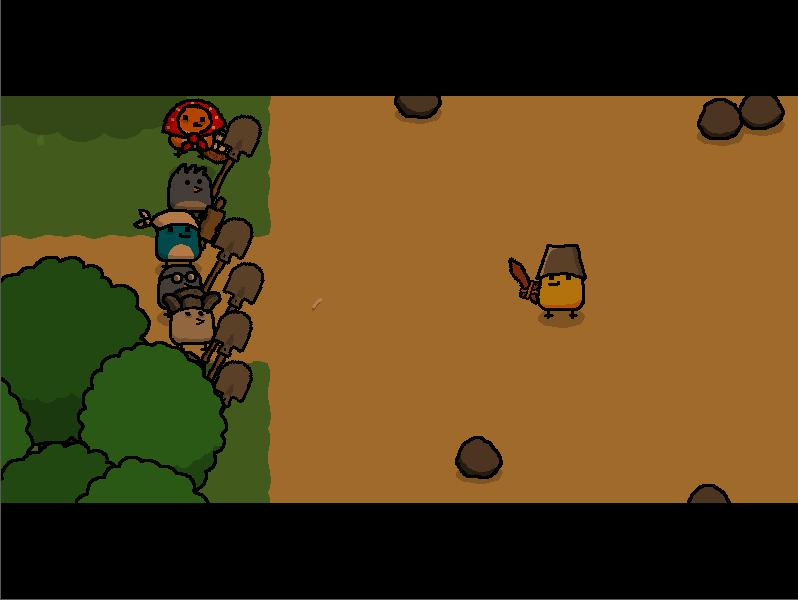 大家都拿著鐵橇把路堵住,並且放出村中的大魔王。