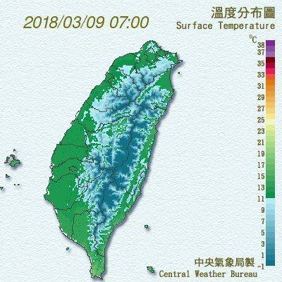 今晨7時各地溫度分布。圖/中央氣象局提供