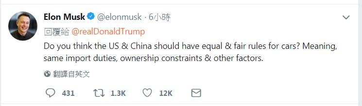 穆斯克推文說:你認為美國和中國針對汽車的規則應該平等和公平嗎? 圖/擷自推特