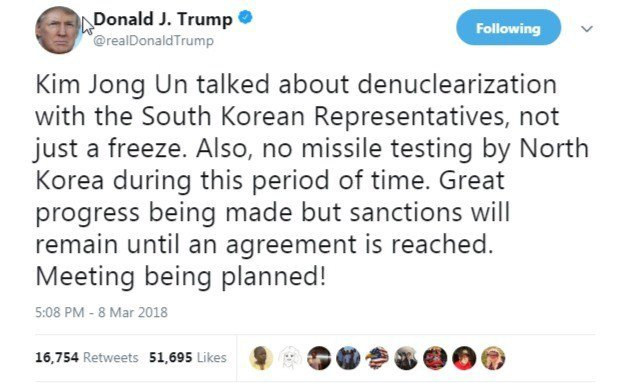 美國總統川普推文指出,金正恩跟南韓代表討論到完全解除核武,而不只是凍結而已。擷自...