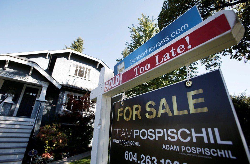 溫哥華房屋出售廣告。路透