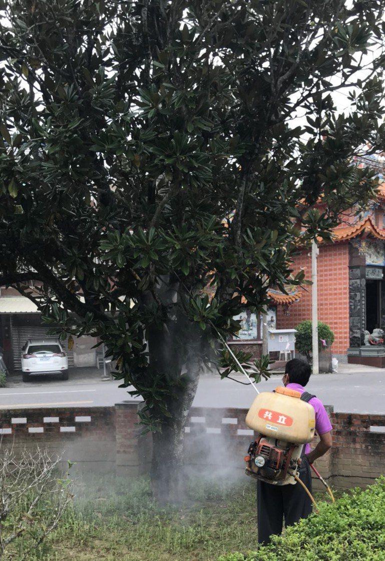 徐錦昌昨天幫木蓮噴葯。記者卜敏正/翻攝