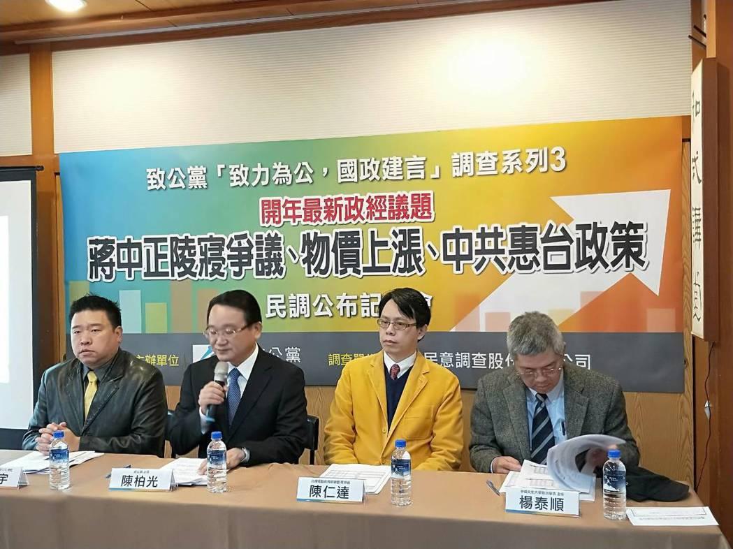 致公黨於9日上午舉行「致力為公,國政建言3」民調公布記者會。致公黨提供