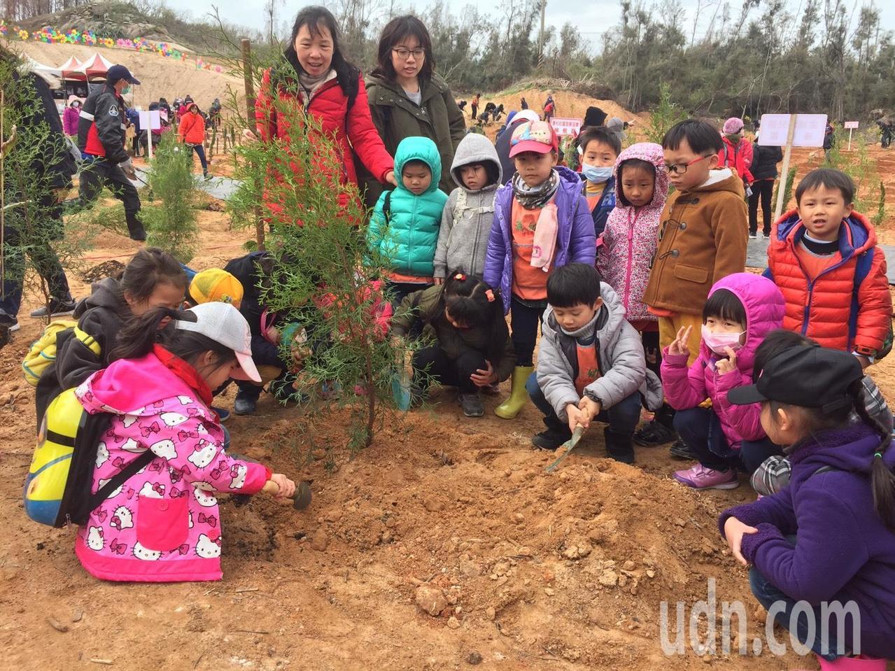 幼稚園的小朋友在師長的陪同下到場體驗植樹,小朋友直呼好好玩。記者蔡家蓁/攝影