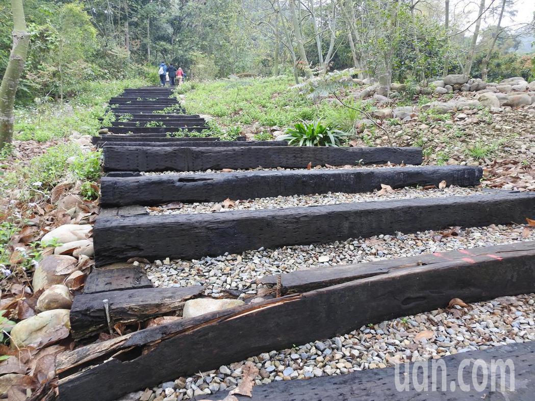 九九峰森林步道部分木棧板毀損,甚至腐朽崩解,恐危及安全,盼公部門維護修繕。記者賴...