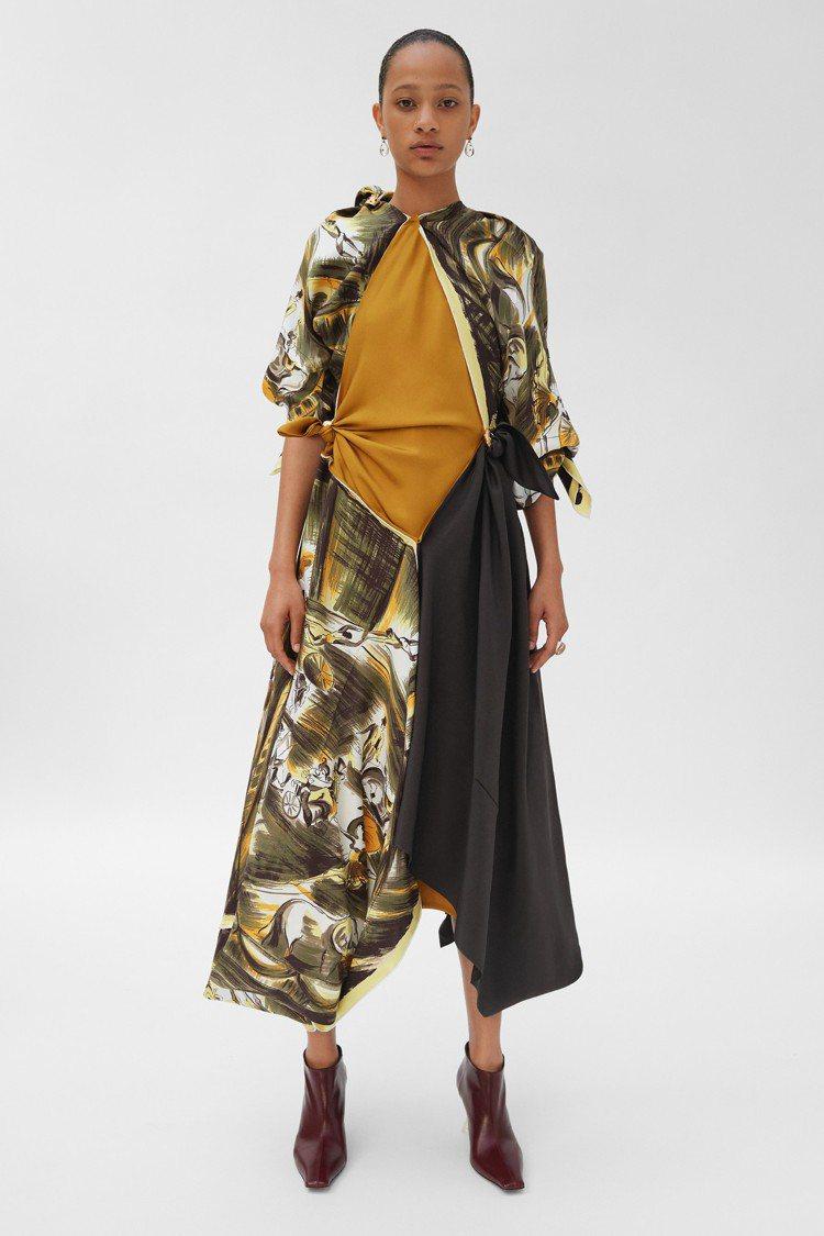 絲巾任意變化而成的洋裝,別緻新穎。圖/CÉLINE提供