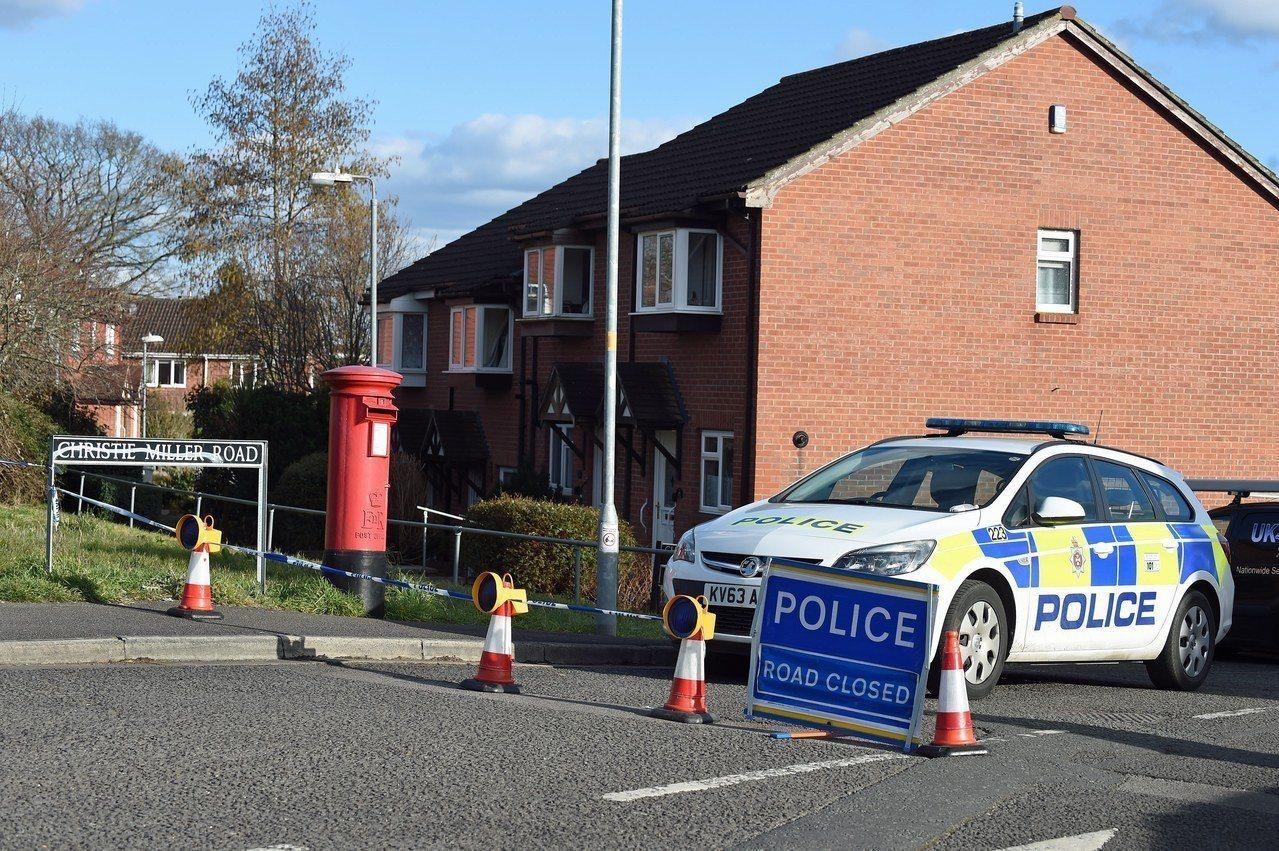 英國警方封鎖史柯里帕位於索爾茲伯里的住家。(歐新社)