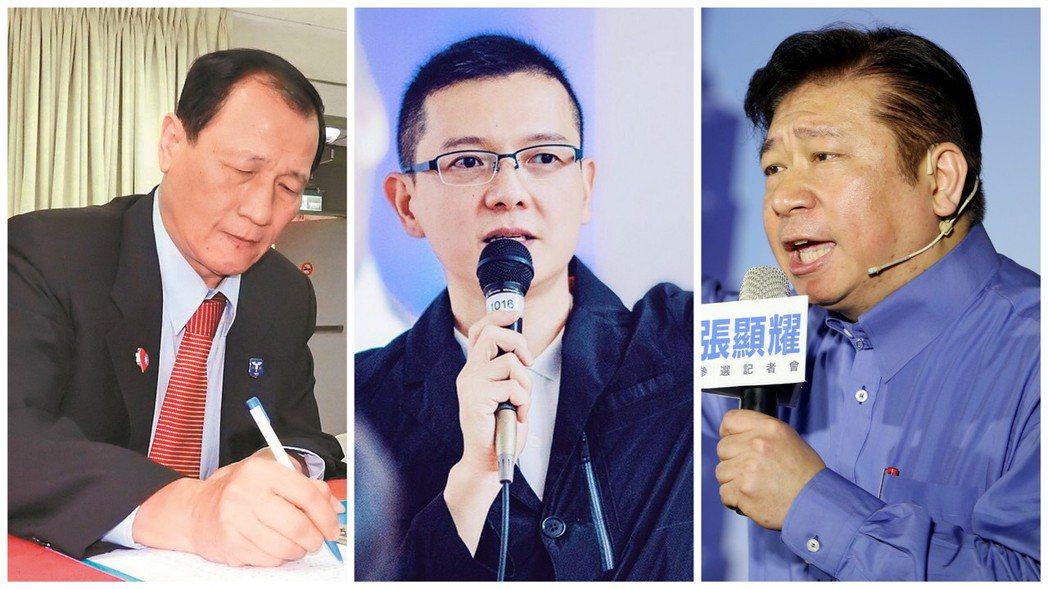 宣布參選台北市的張顯耀(右)與孫大千(中),最先都以親民黨身分當選立委,後來回到...