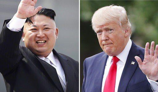 美國總統川普(右)5月將與北韓領導人金正恩(左)會面。