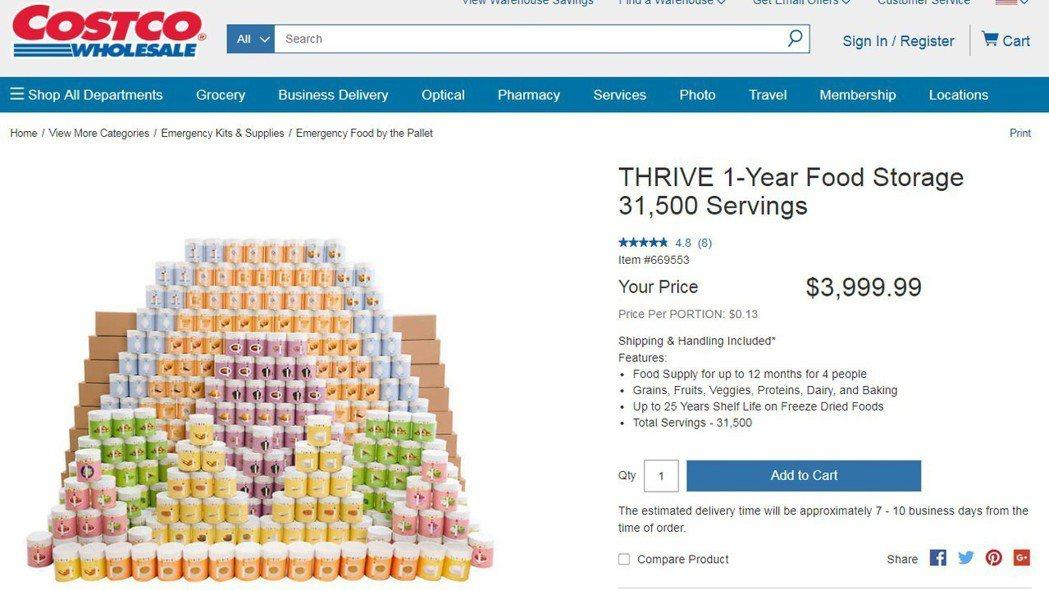 美國好市多(Costco)推出末日求生罐頭。 圖/擷取自Costco網站