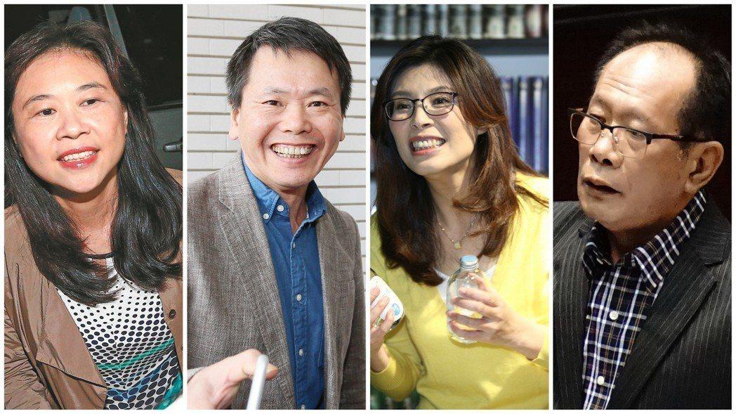 曾橫跨藍綠陣營參選者,包括李永萍(左起)、林為洲、鄭麗文、陳超明等。 圖/聯合報...