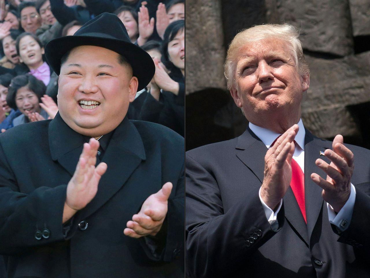美國總統川普(右圖)已同意在今年5月與北韓領導人金正恩(左圖)會面。法新社