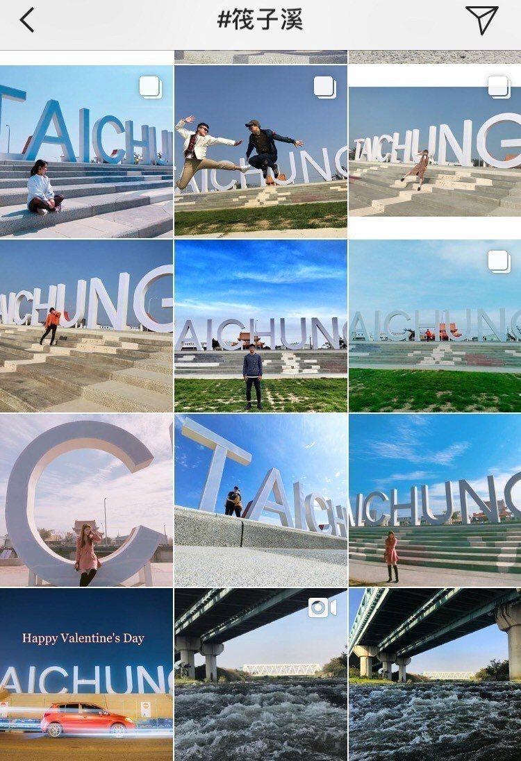 台中市在筏子溪畔打造「TAICHUNG」文字地標,已成為網路打卡熱點。圖/取自I...