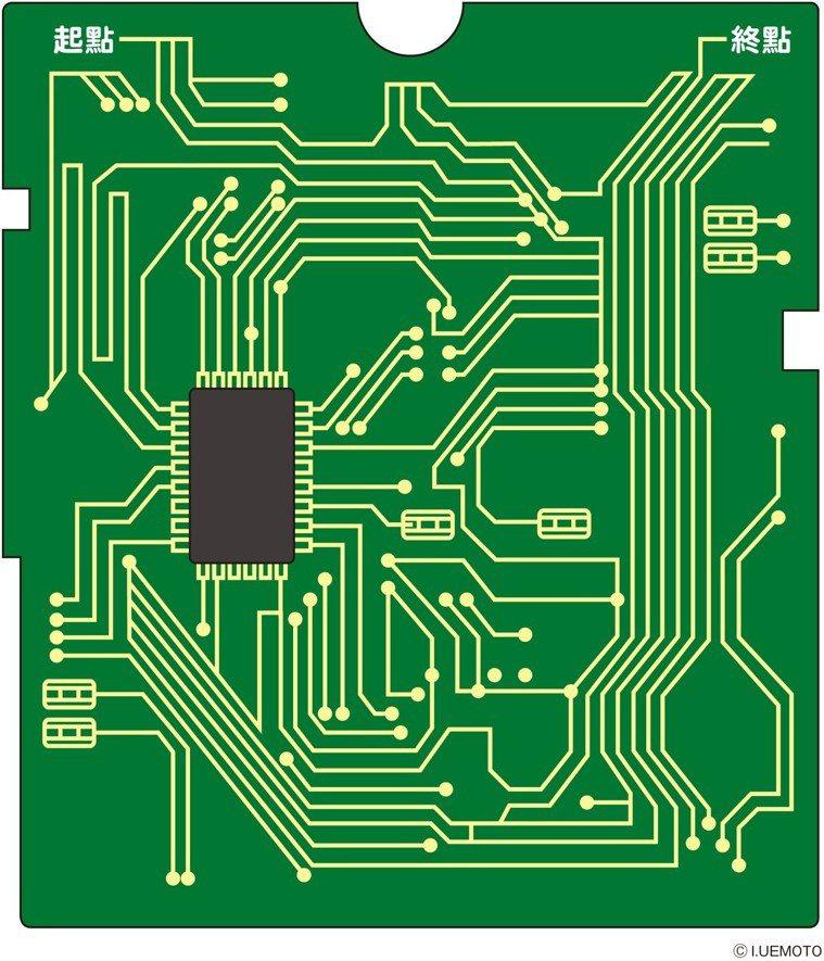 電路板迷宮請手眼並用,從起點到終點,找出最短路徑。 圖摘自╱1天1圖的視力回...