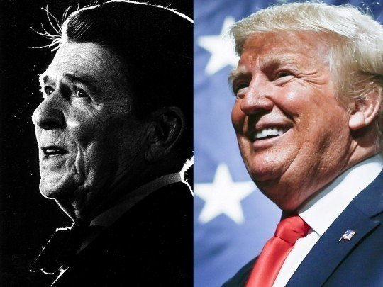 川普10日稱美已故前總統雷根的貿易政策並不好。路透