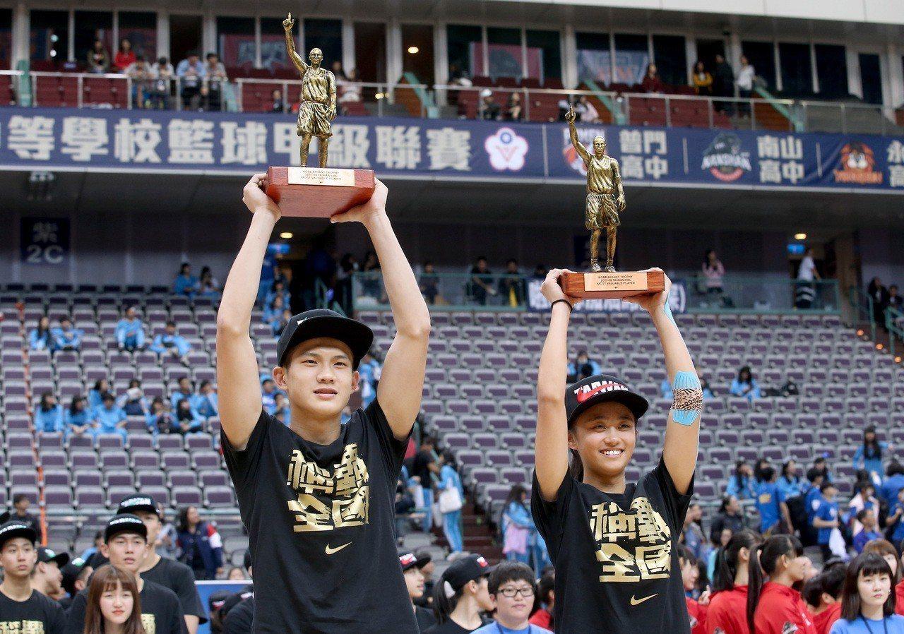 松山高中林勵(左)與普門高中羅培儀(右),獲頒今年HBL冠軍賽最有價值球員。 報...