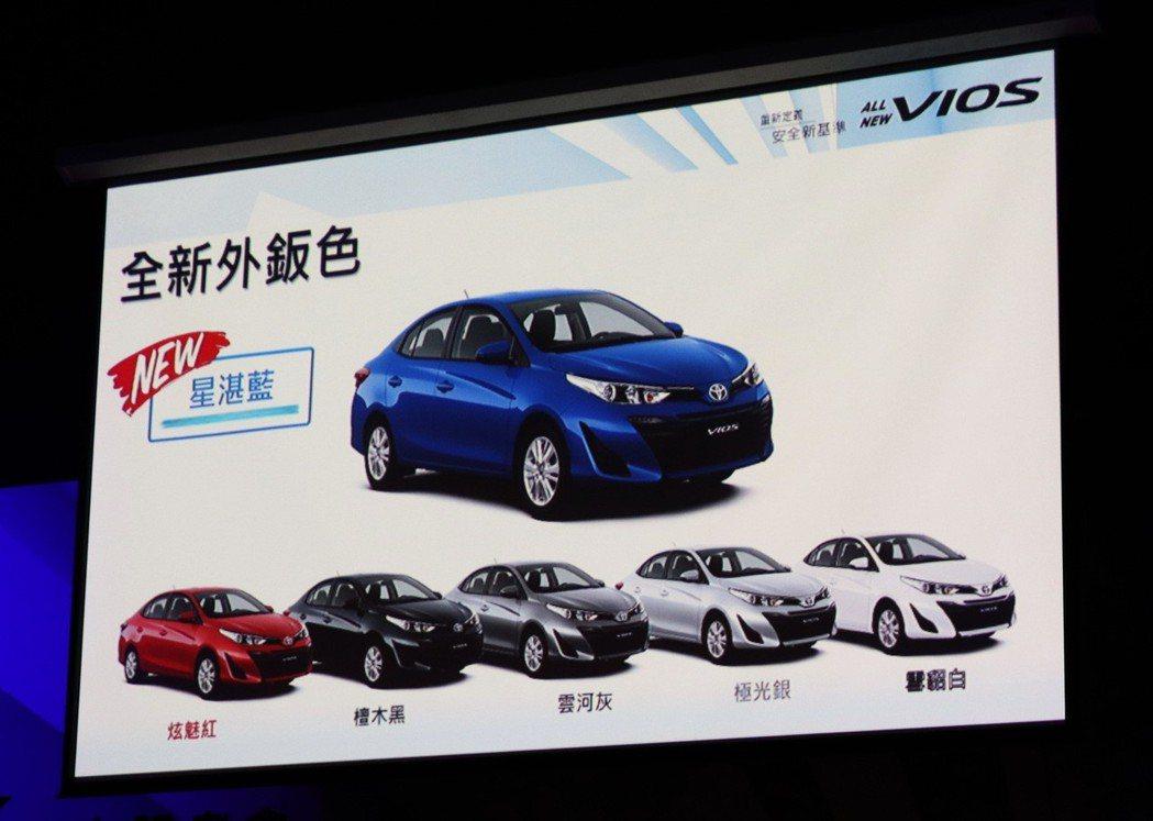 TOYOTA VIOS提供全新車色星湛藍。 記者陳威任/攝影