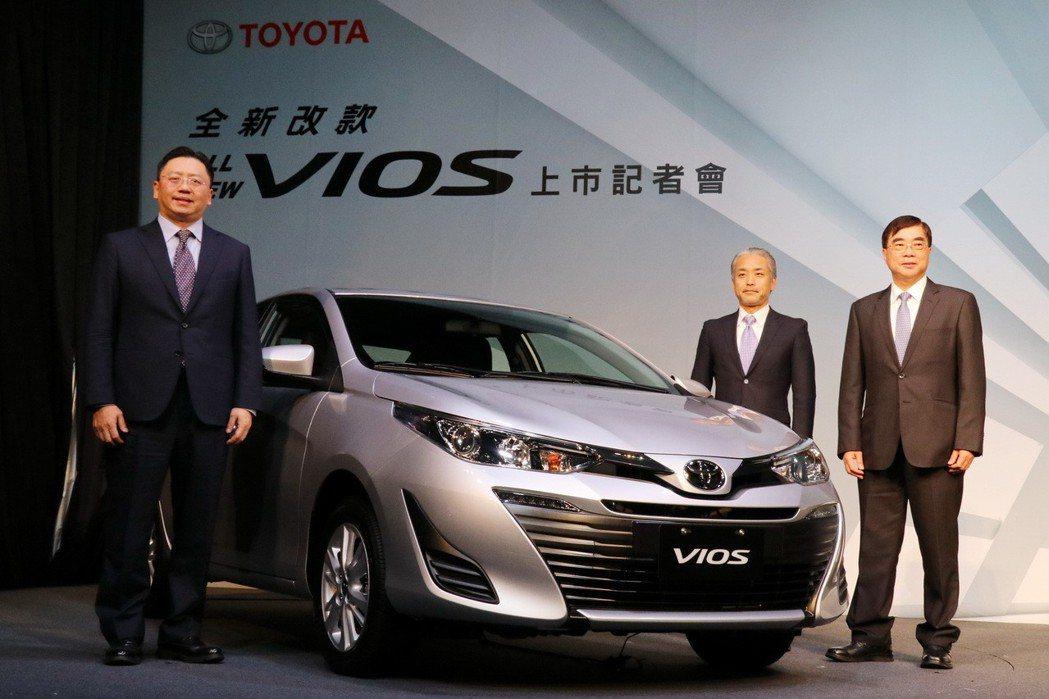 入門房車級距銷售霸主TOYOTA VIOS推出小改款車型,同步升級安全配備。記者...