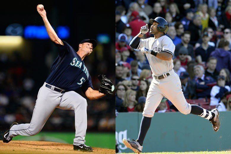 大聯盟的同名同姓球員,投手楊恩(左)吃定了打者楊恩(右)! 歐新社資料照片