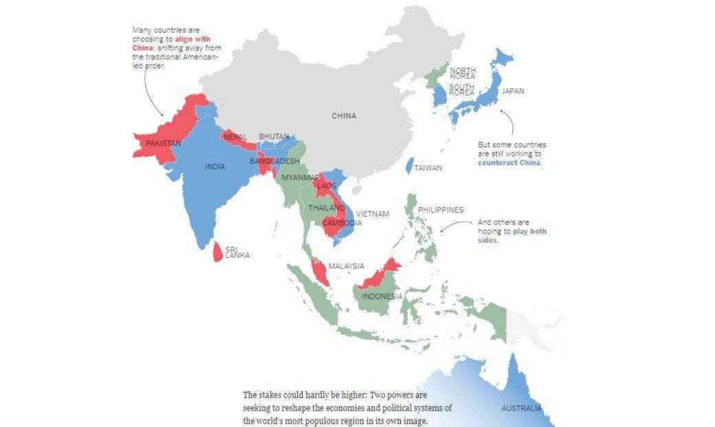 紐約時報訪問五位區域專家,繪出一幅中國大陸與美國在亞洲的兩強爭霸地圖。擷自紐約時...