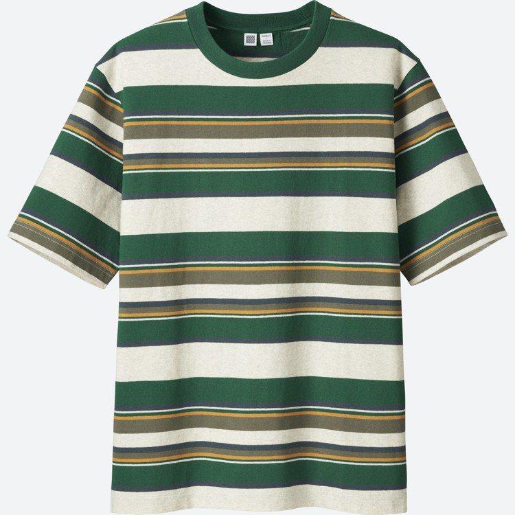 UNIQLO U系列男裝條紋T恤,約790元。圖/UNIQLO提供