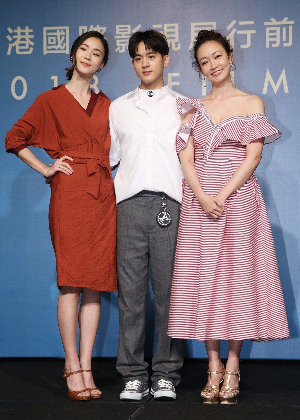 文化部舉辦香港國際影視展行前記者會,台劇「姊的時代」主要演員鍾瑶(左起)、吳思賢...