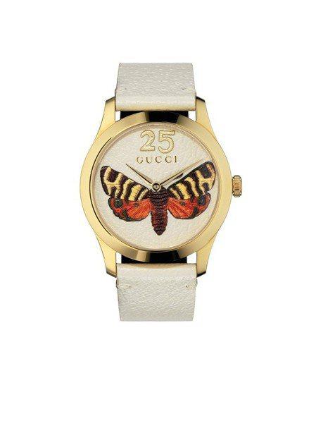 Gucci G-Timeless系列腕表,白色牛皮與浮刻蝴蝶圖案,黃金色PVD表...