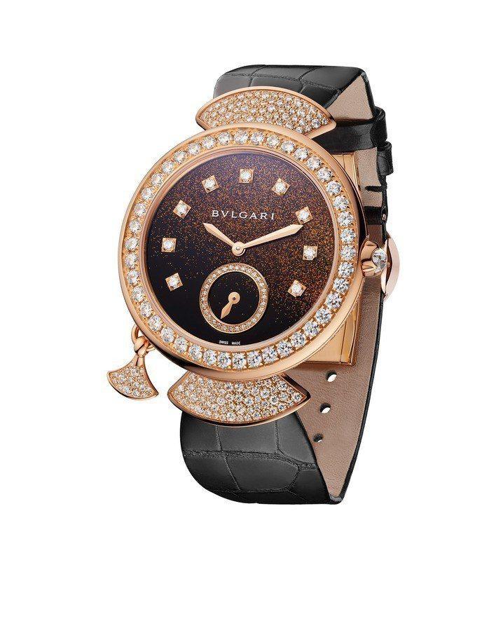 寶格麗Divas' Dream珠寶三問腕表,18K玫瑰金表殼鑲嵌明亮型切割鑽石,...