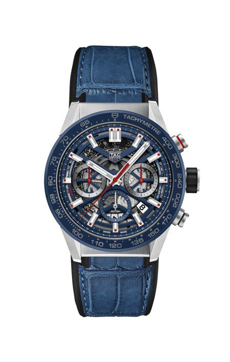 泰格豪雅Carrera Heuer 02計時碼表,藍色表面配藍色皮革表帶,約17...