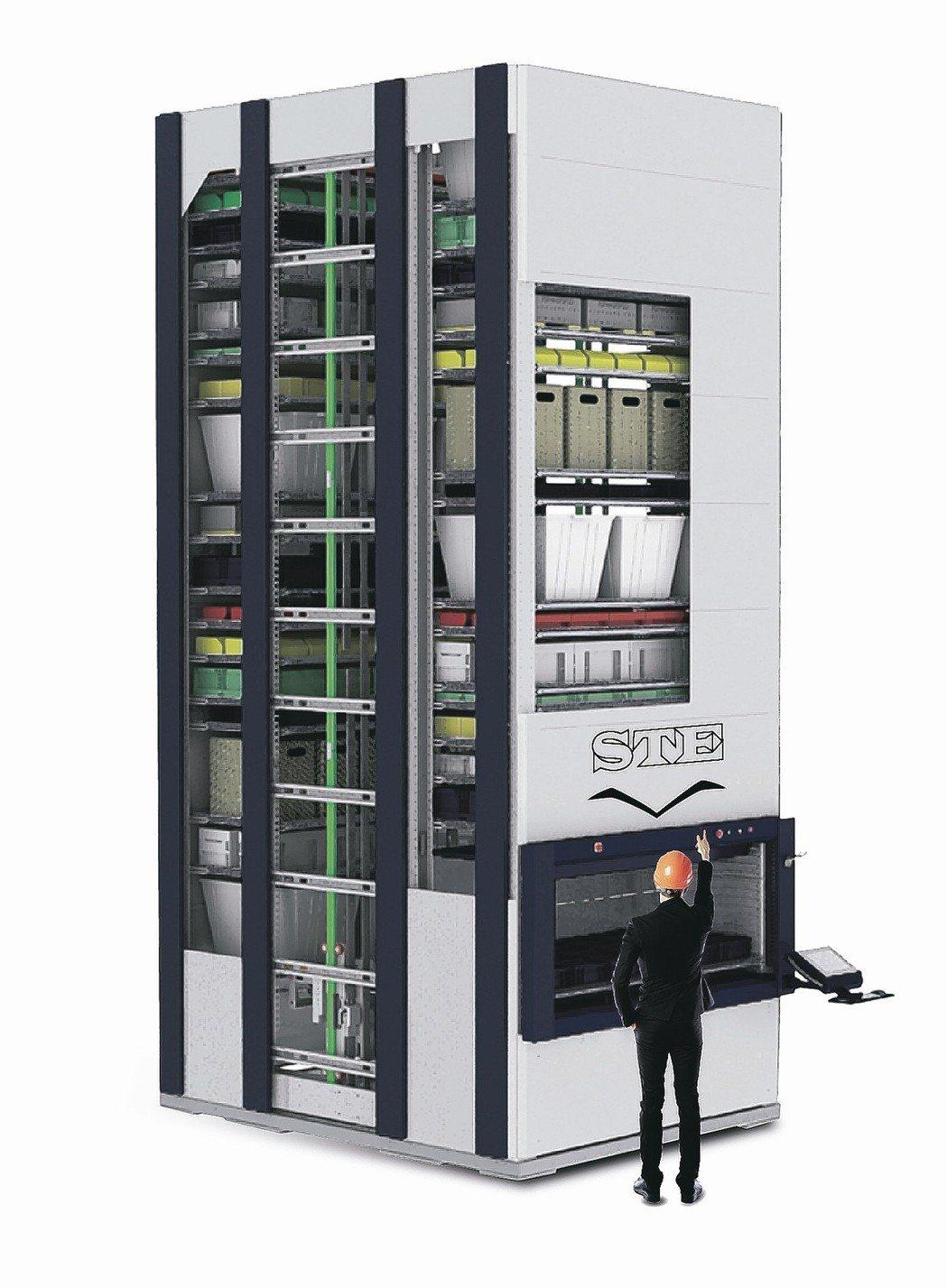 鈞曜垂直式智慧倉儲系統,是工業4.0時代倉儲效率提升方案,節省空間、揀貨快速、防...