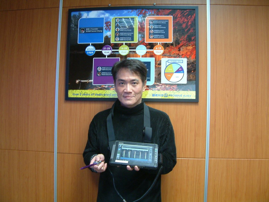譜威科技經理徐國彬展示「Phoenix Pacer巡檢式設備管理系統」。莊智強/...