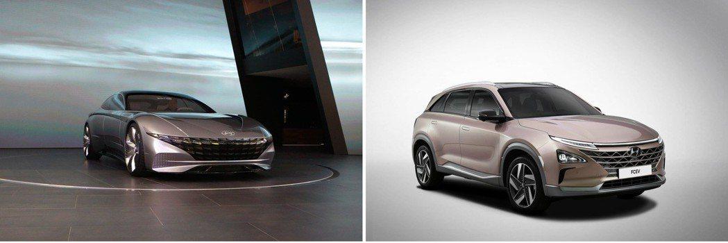 左圖為Hyundai Le Fil Rouge,右圖為Hyundai Nexo。...