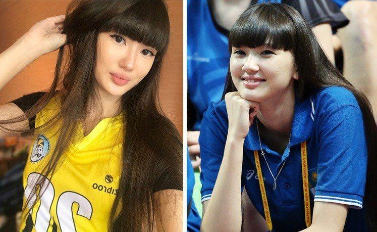 「排球美少女」莎賓娜現在妝扮成熟(左圖),與2014年來台的模樣(右圖)有些不同...