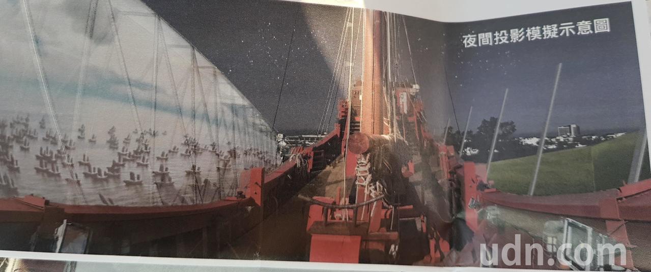 台灣船周邊景觀工程未來完成後,可在「鯨背穹頂」觀看相關影片。圖/市府提供