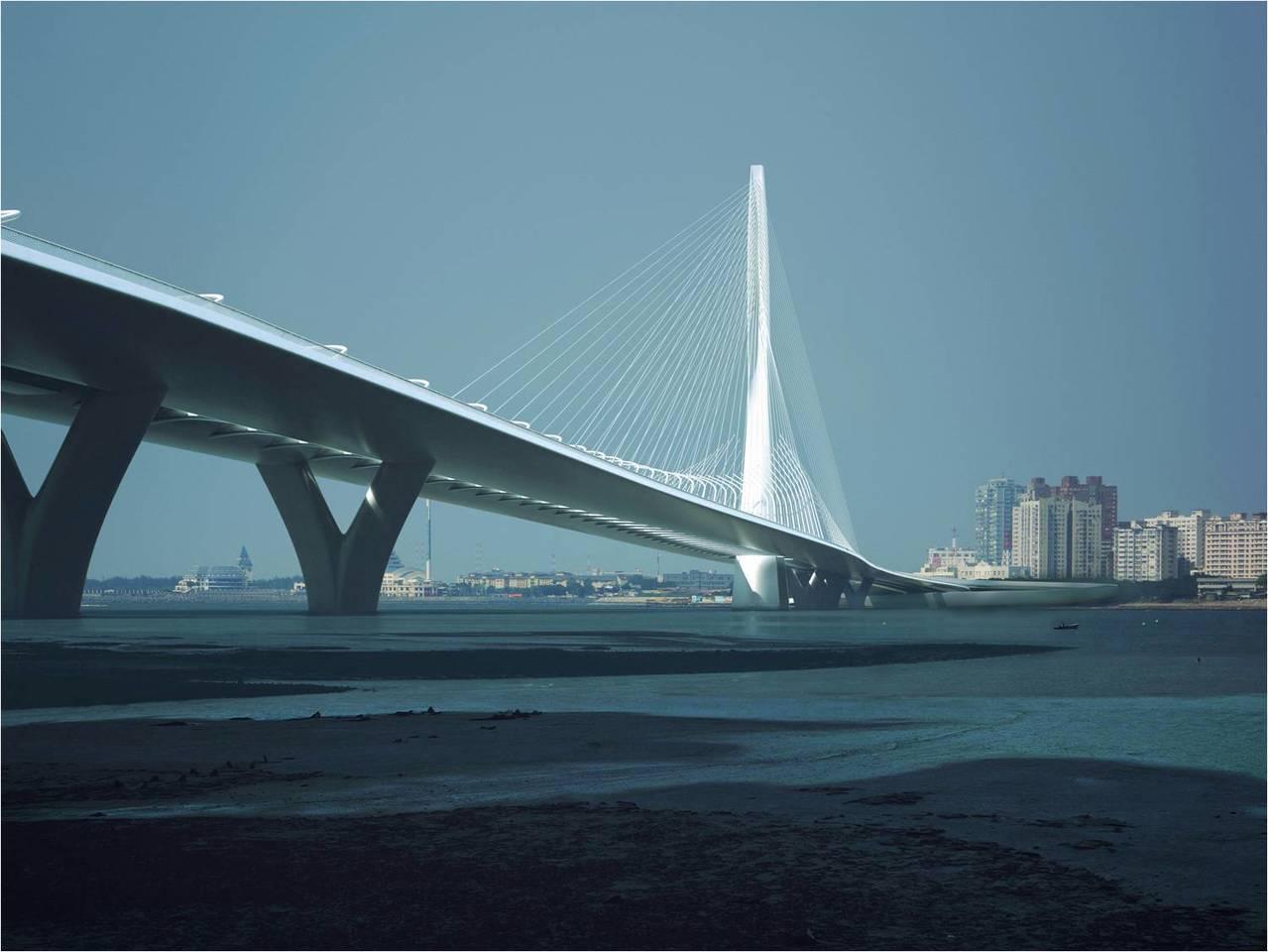 淡江大橋第三標主橋段工程經歷7度流標,公路總局延長工期、追加預算、再祭出800萬元獎勵金後,今天8度招標,終於有廠商投標。圖/交通部公路總局提供