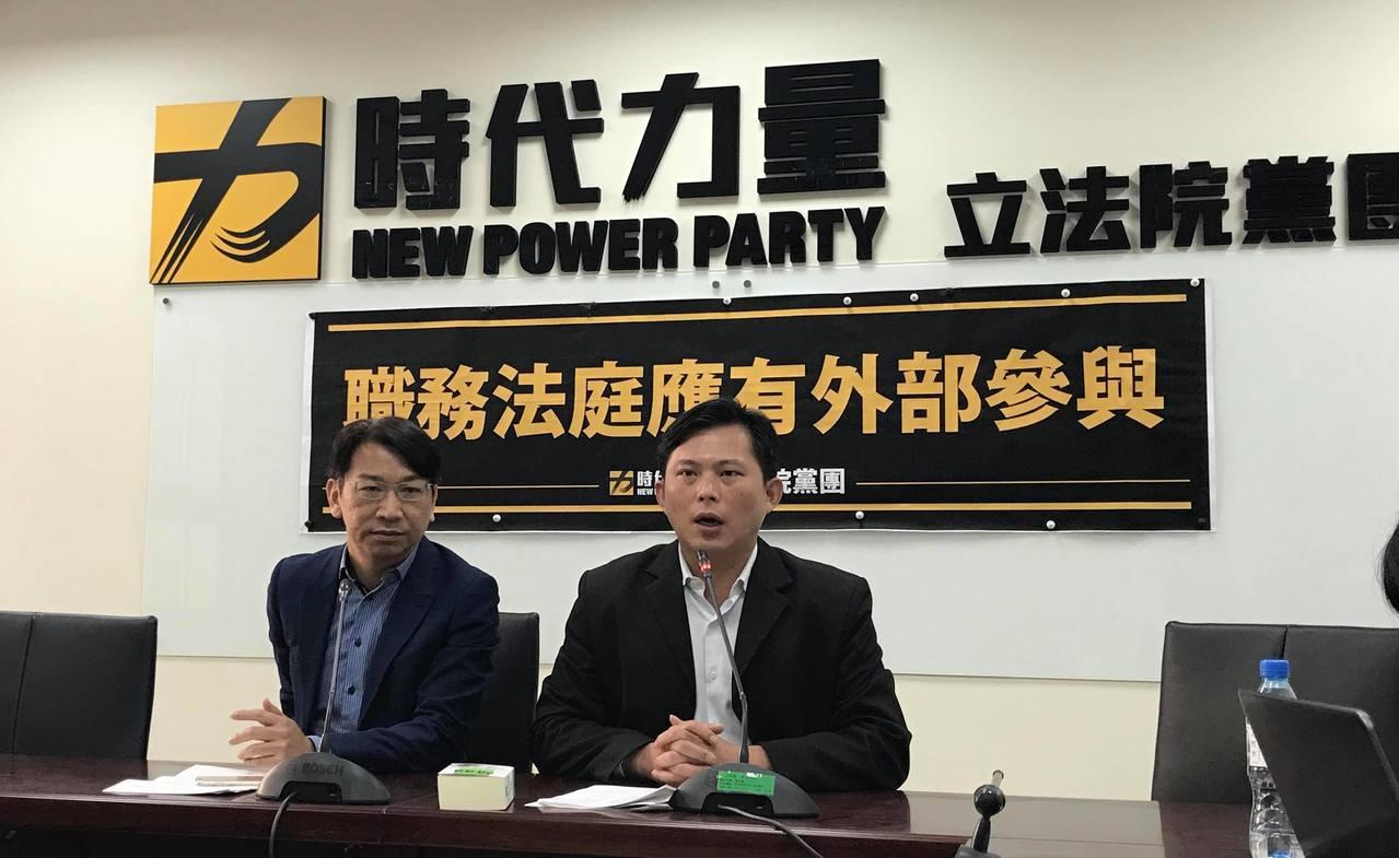 時代力量黨團總召徐永明(左)、立委黃國昌(右)。記者林麒瑋/攝影
