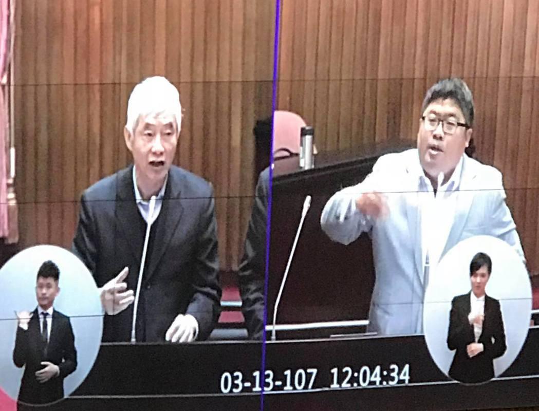 民進黨立委蔡易餘(右)在立法院質詢交通部長賀陳旦(左)。記者林麒瑋/攝影