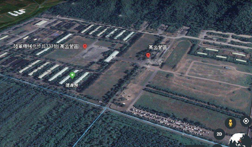 屏東萬金營區腹地廣大,目前為陸軍333旅駐地。圖/翻攝Google Earth