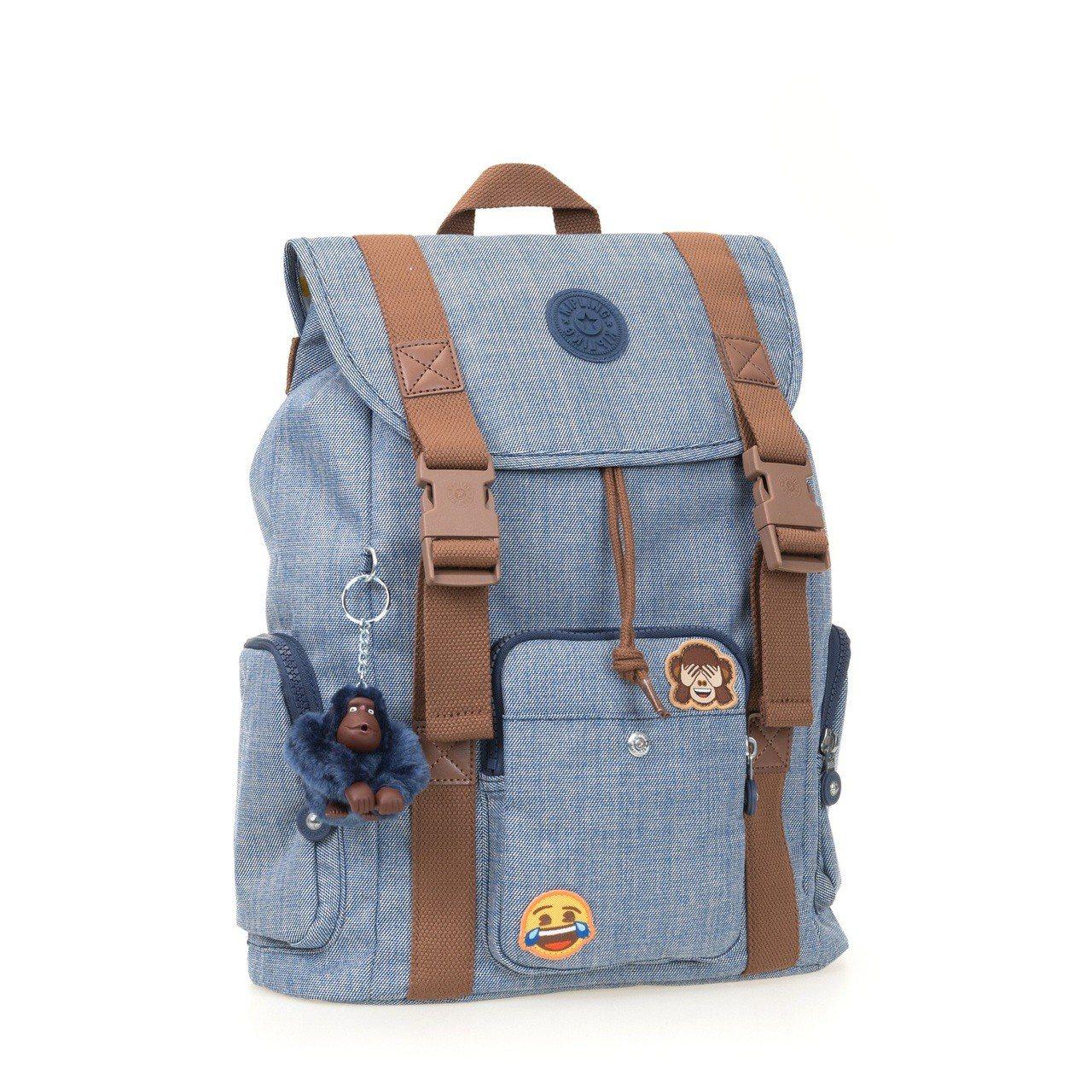Kipling與emoji合作限定系列Adaven掀蓋後背包,約7,150元。圖...
