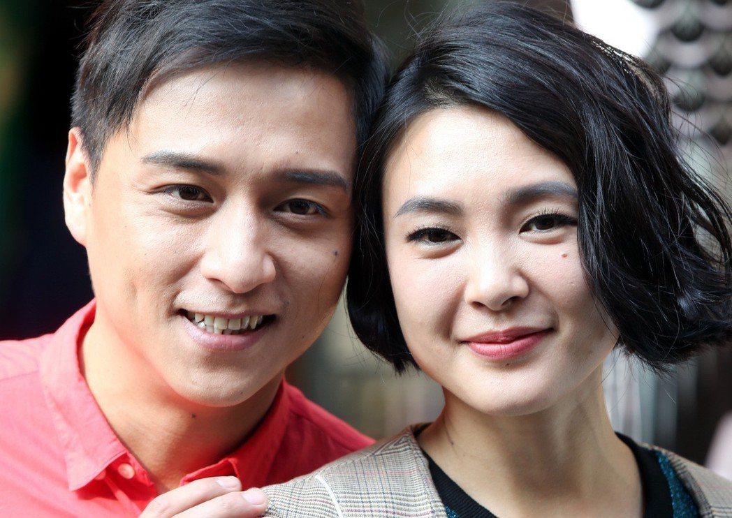 「上岸的魚」 演員鄭人碩(左)及曾珮瑜(右)左臉都有一顆痣,出席新戲宣傳活動。記...