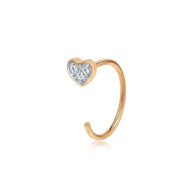 點睛品 Ear Play 18K玫瑰金鑽石心形耳環單支,4,700元。圖/點睛品...