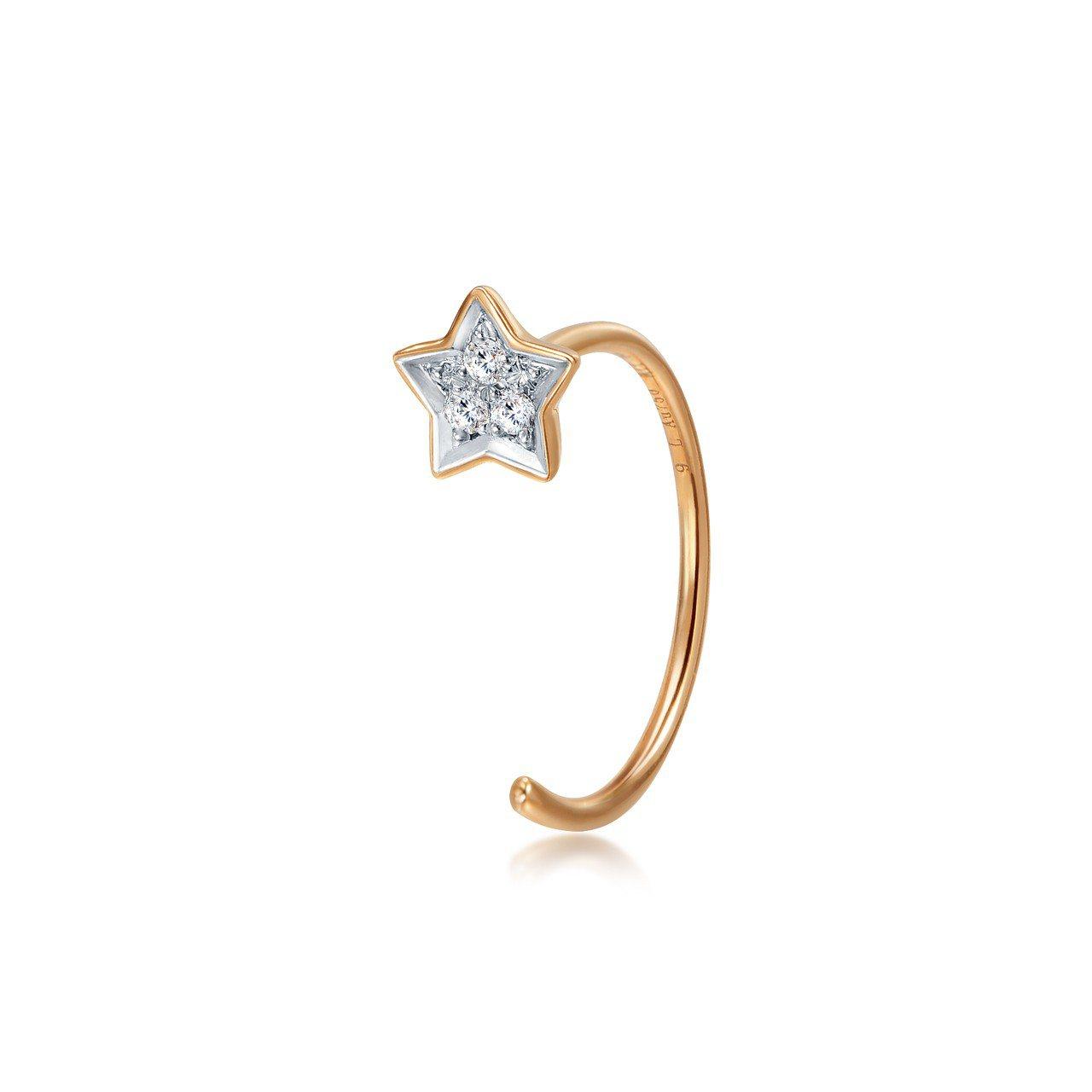 點睛品 Ear Play 18K玫瑰金鑽石星星耳環單支,4,700元。圖/點睛品...