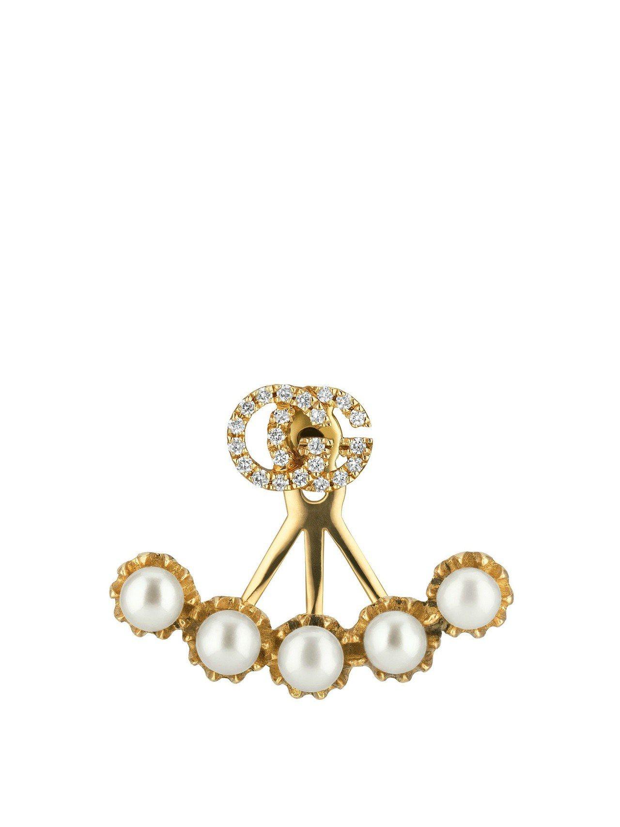 古馳18K 黃金G字珍珠鑽石耳環單耳,46,800元。圖/古馳提供