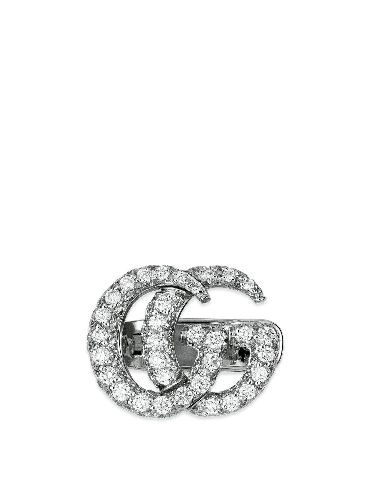古馳18K白金GG鑽石耳環單耳,17萬1,600元。圖/古馳提供