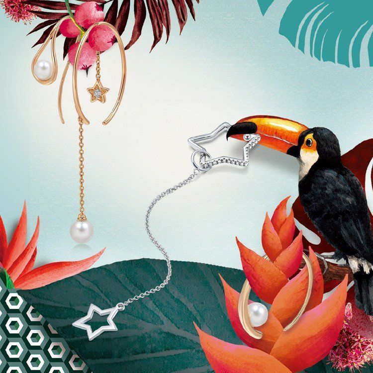 點睛品春夏系列推出多款適合混搭的單邊耳環。圖/點睛品提供