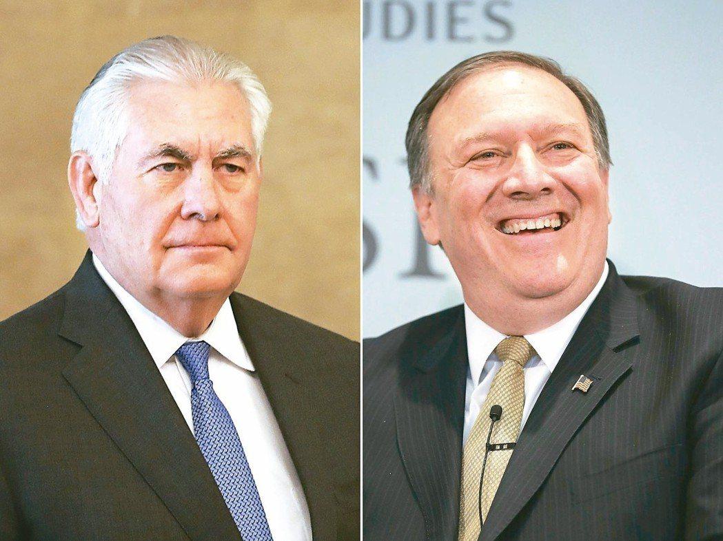 川普炒了提勒森(左),宣布由中央情報局局長龐培歐(右)接替國務卿。 法新社