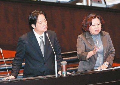 新任勞動部長許銘春(右)昨日在立法院答詢承諾,今年底會將最低工資法草案送到行政院...
