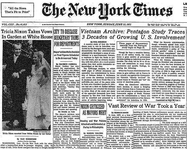 1971年6月13日,紐約時報刊登第一篇公開五角大廈文件的報導。 圖/維基共享