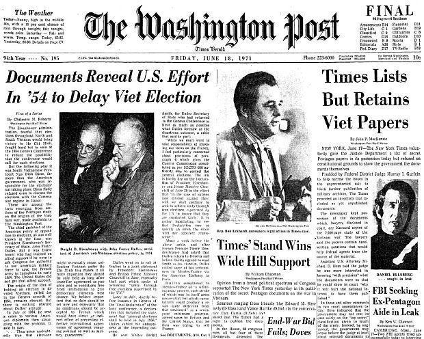 1971年6月18,華盛頓郵報也加速跟進越,公開五角大廈文件的報導。 圖/維基共享