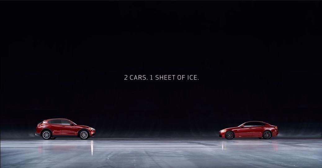 兩台車 同一個冰面 不使用特效。 截自Alfa Romeo USA